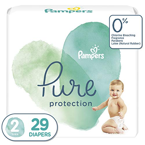 Price comparison product image Diapers Size 2,  29 Count - Pampers Pure Protection Disposable Baby Diapers,  Hypoallergenic and Unscented Protection,  Jumbo Pack