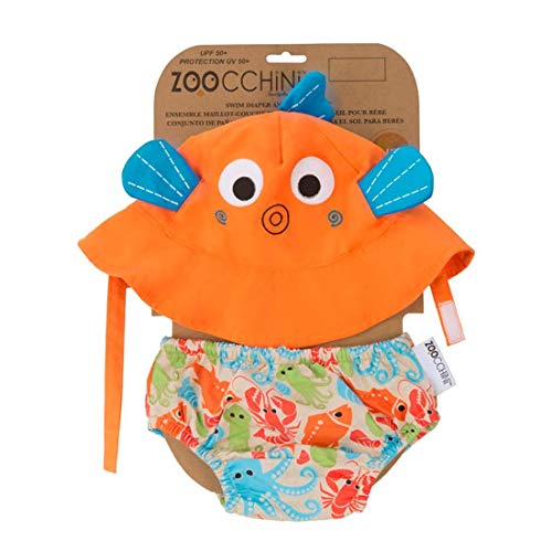 Zoocchini - Set Baby Costumino Contenitivo e Cappellino, Multicolore (Pesce), L (12-24 mesi)
