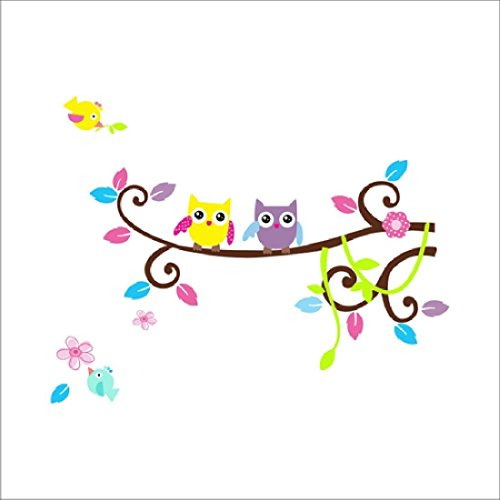 83cm*64cm Owl Branch Pvc Diy Vinyl Mural Wall Sticker Removable Art Decals Home Decor Poster Window by ASTrade