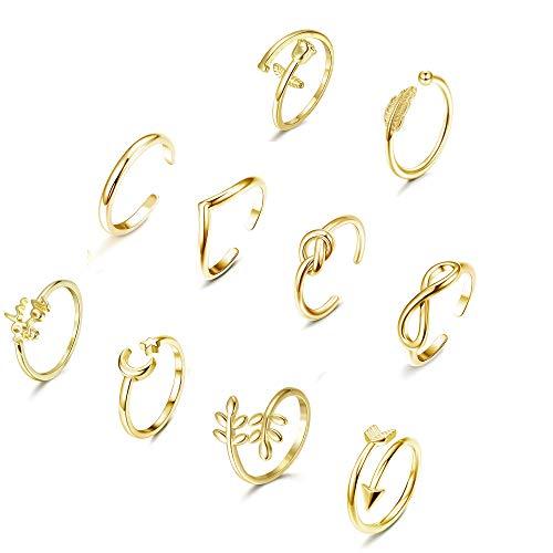 YADOCA 10 Pcs Verstellbare Ringe für Frauen Mädchen Einfacher Pfeilknoten Wave Mond Stern Ring Stapelbarer Finger Daumen Knuckle Ring Nagel Offene Ringe Set Gold