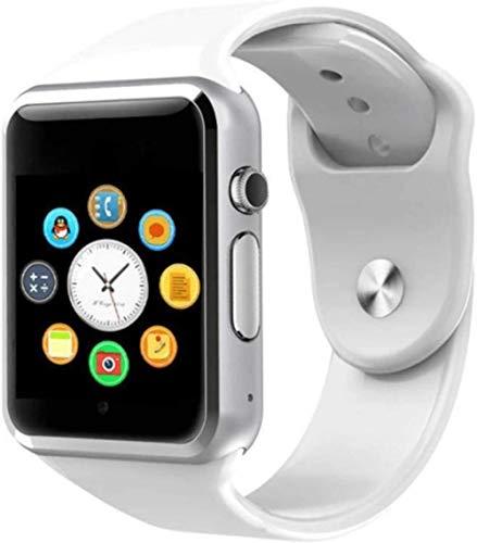 Reloj inteligente con notificador de sincronización compatible con tarjeta SIM TF para Apple iPhone, Android Phone Smartwatch (color: negro pistola) - blanco