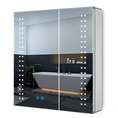 Quavikey - Armario de Espejo de baño LED Iluminado de 63 x 65 cm, Armario de Aluminio montado en la Pared con Interruptor de Sensor de Enchufe de maquinilla de Afeitar para Maquillaje cosmético