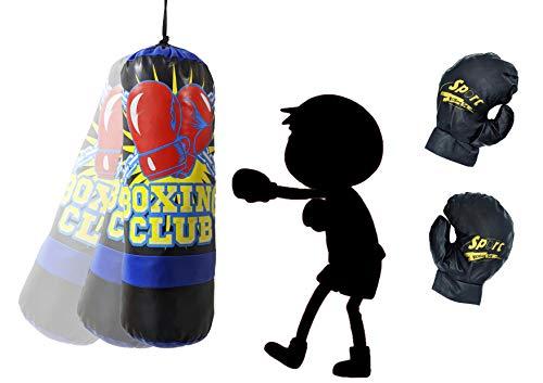 Joval Sac de frappe bleu pour enfants, entraînement de MMA Muay Thai Kick Boxing et arts martiaux avec gants, Junior Punching Bag Bleu