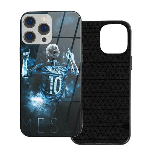 Lionel Messi caja del teléfono para el iPhone 12 Pro Mini lujo vidrio teléfono móvil casos ventilador regalo (negro, IP12-6.1)