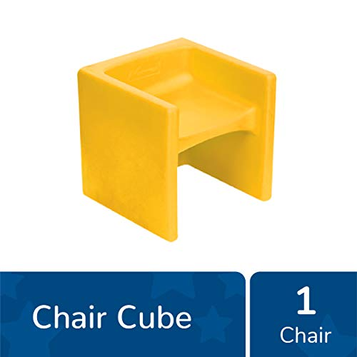 "Children's Factory Cube Chair, 15"" by 15"" by 15"" – Yellow – Versatile – Use as Low or High Child's Chair, Table or Adult Seat – Durable and Lightweight – Indoor or Outdoor Use (CF910-010)"