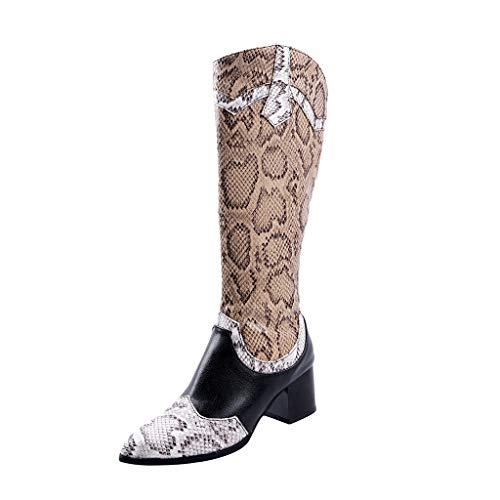Great Features Of Hopwin Women's Knee High Cowboy Boots | Ladies Pointed Toe Low-heele Snake Print V...
