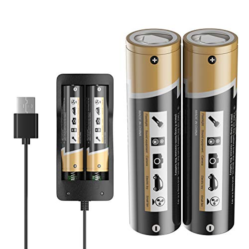 LCLEBM 2PCS 3400mah 3.7V 10A Battery for Flat Top, Rechargeable Batteries with 2 Bay USB Battery Charger for 2 Button Flat top Battery for Video doorbell USB Fan LED Flashlight
