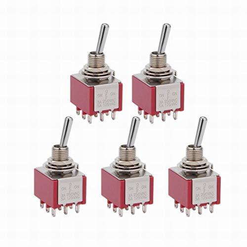 5Pcs AC 125V / 5A 250V / 3A ON/OFF/ON 3 posiciones 9 terminales Interruptor de palanca 3PDT