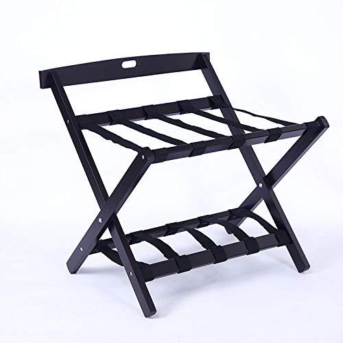 Suitcase Stand Solid Wood Luggage Stool Hotel Bedroom Furniture Folding Shelf Shoe Rack Clothes Storage Rack-Black