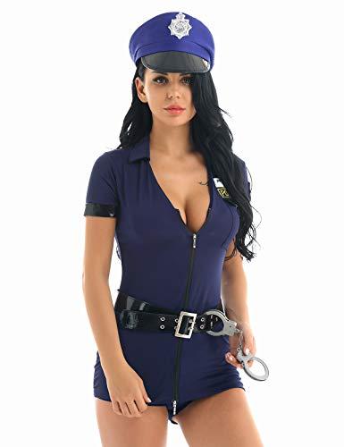 Freebily Polizist Kostüm Damen Cosplay Uniform Polizei Bodycon Jumpsuit Overall Minikleid Lingerie Set Reizwäsche Mottoparty Nachtclub Verkleidung Marineblau Medium