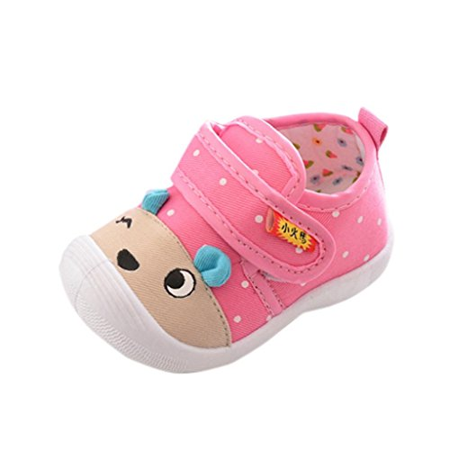 Starxin Toddler Infant Kids Baby Boys Girls Cartoon Anti-Slip Shoes Soft Sole Squeaky Sneakers (Pink, Age:12~18M)