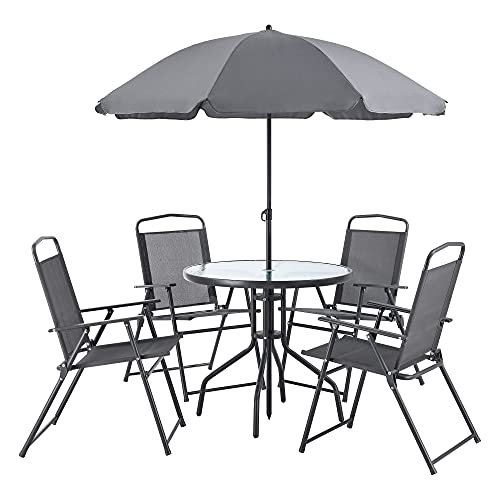 [en.casa] Set de Muebles de Jardín Milagro para 4 Personas Conjunto de Muebles de Exterior con Sombrilla Terraza Patio Set de 4 Sillas Mesa Protección Sol Negro y Gris Oscuro