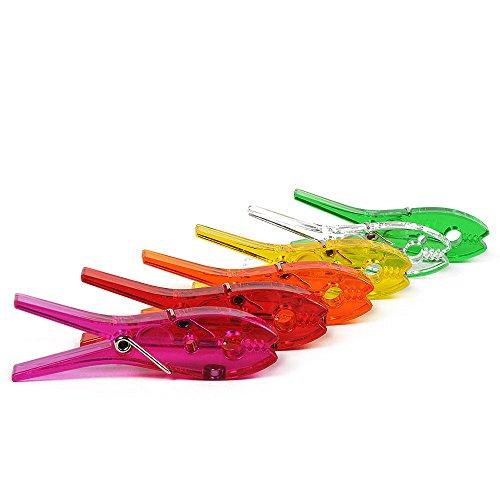 HAB & GUT -MC480- 6 Pinzas para la ropa transparentes, magnéticas de varios colores, imanes nevera, pizarra magnética, soporte fotos