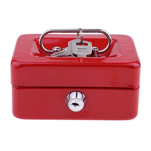 P Prettyia Tragbare Geldkassette Geldkasse Münzenbox für Schmuck, Perlen, Ohrring, Ring - Rot