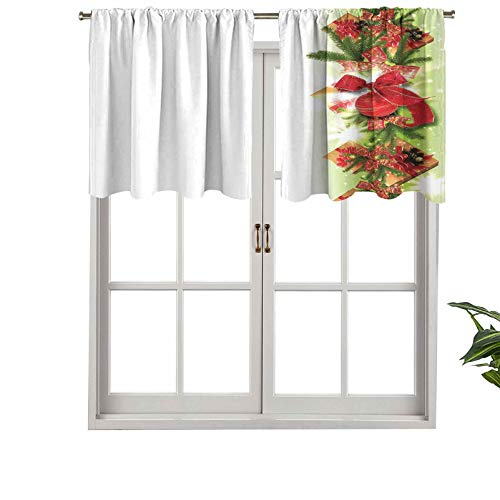 Hiiiman Short Straight Kitchen Rod Pocket Drapery Valances Classical Ribbons Baubles Used to Festoon The Xmas Tree, Set of 2, 42'x24' for Living Room