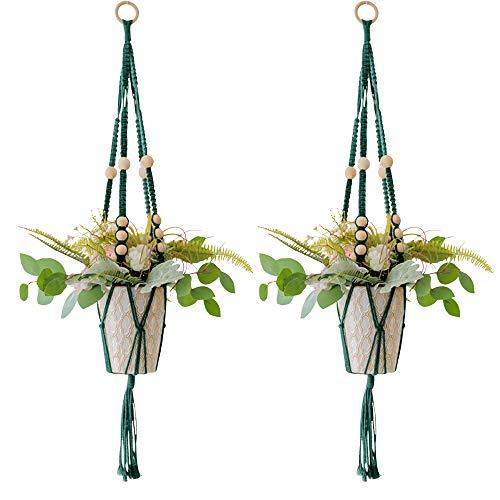 YANGMAN Cintres pour Plantes en Macramé - 35 Pouces Hangers Usine Titulaire de l'usine de Corde Suspendue en Coton pour Pots de Fleurs - Perles Boho décorations, avec Anneau en Bois, Vert foncé,2pcs