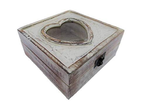 Geschenkhaus-Tom Schatzkiste mit Herz für Bild Schatztruhe Truhe Holztruhe Holzbox Box 15x15x7 cm Massivholz im Shabby Chic Look