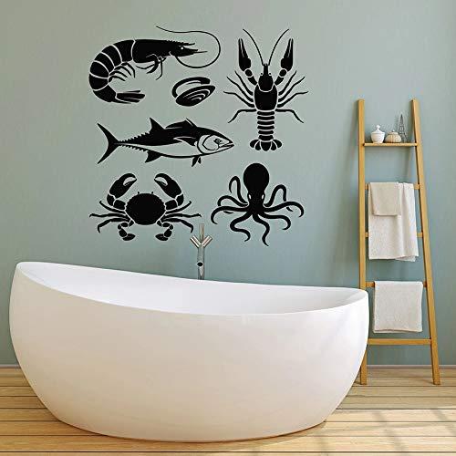 Calcomanía de pared de animales marinos, pulpo, cáncer, cangrejo, pesca, estilo marino, adhesivo decorativo