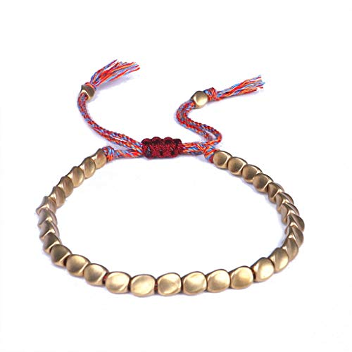 Geneic Pulsera de cobre tibetano hecha a mano con cuentas budistas trenzada de algodón