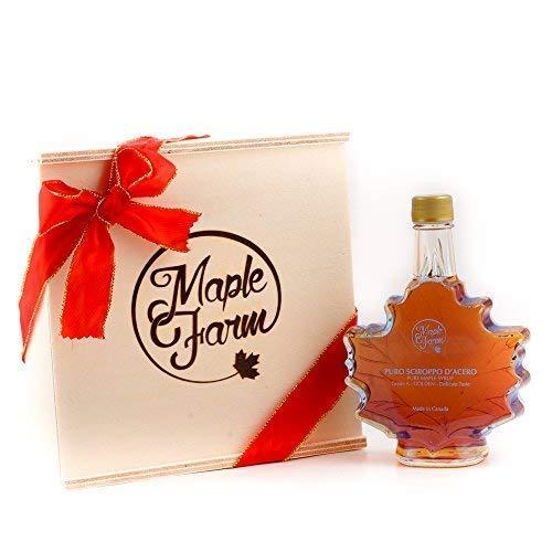 MapleFarm - Puro sciroppo d'acero - Grado A - AMBER - Bottiglia a foglia in confezione regalo - Maple Syrup