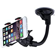 URPOWER Car Mount, Windshield Car Phone Holder Mount, Long Arm/neck 360°Rotation ,Flex Universal Car Cradle with Extra Dashboard Base and Dual Strong Suction for Cell Phones iPhone 6,Samsung S6 Edge/S6/S5,Double Clip Car Mount for Most Phones and GPS Navigation