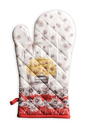 Maison d Hermine Bagatelle 100% Cotton Cooking Gloves   Oven Mitt for BBQ   Cooking   Baking   Grilling   Microwave   Barbecue   Thanksgiving/Christmas (7.5 Inch by 13 Inch)