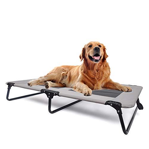 QQLK Erhöhte Hundeliege - Bedsure Hundeliege Faltbar - Draußen Camping Erhöhtes Hundebett, Keine Installation Erforderlich - Grau,108 * 76cm