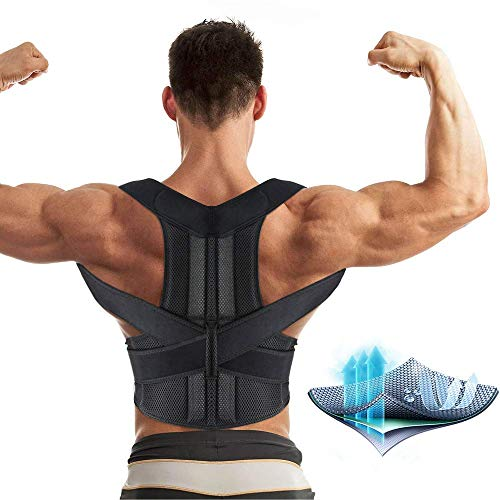 Aptoco Back Brace Posture Corrector for Women and Men Fully Adjustable Support Brace Improves Posture and Provides Lumbar Support for Lower and Upper Back Pain| Size M (27.5-35'') Waist