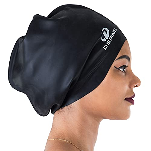 Dsane Extra Large Swimming Cap for Women and Men,Special Design Swim Cap for Very Long Thick Curly Hair&Dreadlocks Weaves Braids Afros Silicone Keep...