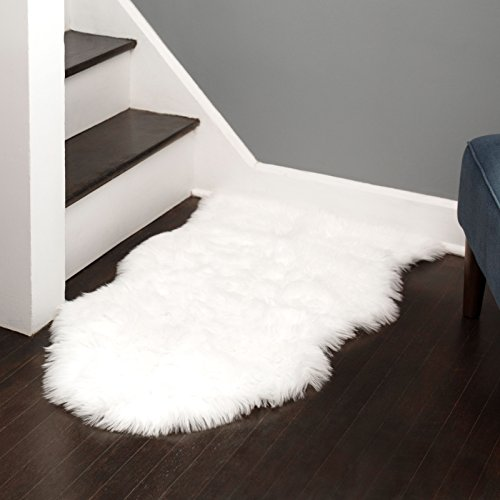 Silky Super Soft Faux (Fake) Sheepskin White Shag Rug That's Machine Washable. Great for Photography or a Bedroom Get The Real Look Without Harming Animals (Single Pelt - 2 feet x 3 feet)