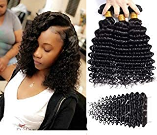 Brazilian Curly Human Hair Weave 3 Bundles with Closure 10A Unprocessed Kinkys Curly Human Hair with Free Part Lace Closure Natural Color (8 10 12 +8, Deep Wave)