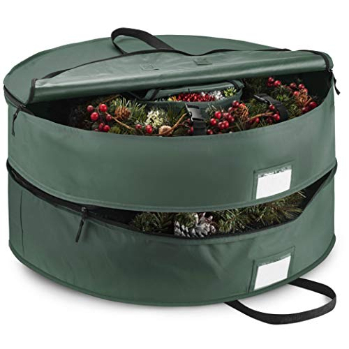 """Double Premium Christmas Wreath Storage Bag 36"""", With Compartment Organizers For Christmas Garlands & Durable Handles, Protect Artificial Wreaths - Holiday Xmas Bag Made of Tear-Proof 600D Oxford"""