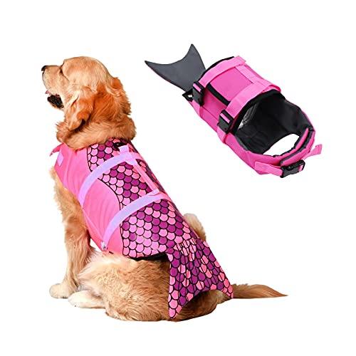 SILD Chaleco Salvavidas Ajustable para Perros Salvavidas de Seguridad Chaleco Reflectante para Mascotas Salvavidas Salvavidas Perro Salvavidas Chaleco Surfing Boating Caza (Rosado-Morado, XL)