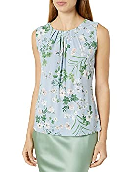 Calvin Klein Women s Pleat Neck Sleeveless Cami Zen Multi Medium