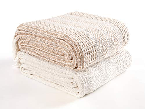 EHC Premium Pack of 2 Cross-Stitch Throws for Sofa/Chair Blanket, 125 x 150cm - Beige/Ivory