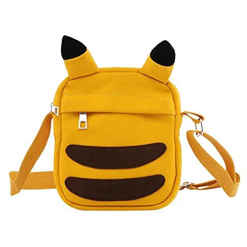 Occitop Cute Cartoon Bolsa feminina de ombro com zíper, bolsa para celular, mini bolsa transversal, Amarelo, Show in description