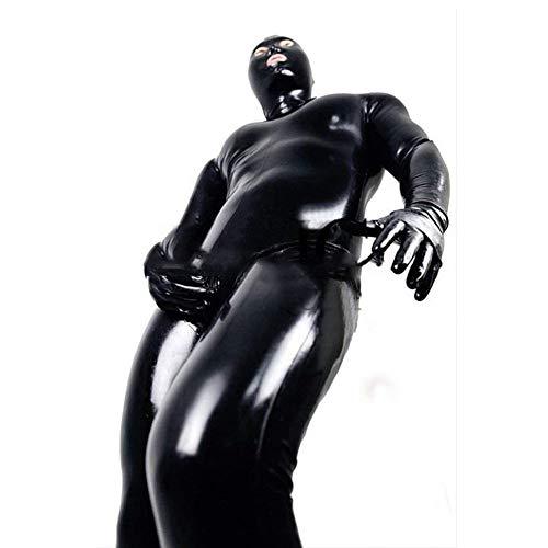 ALASON Herren Sexy Lack Leder PVC Body Overall für Clubwear Schritt Reiß Verschluss Dessous Kostüm Erotische Kleidung Latex Catsuit,Schwarz,XXL