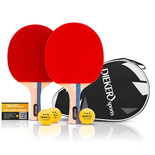 Balles et raquette de ping-pong de table PREMIUM de Dieker Sports - Set de ping pong avec grip de qualité supérieure - 2 raquettes de tennis de table + balles 3x3 étoiles de qualité supérieure
