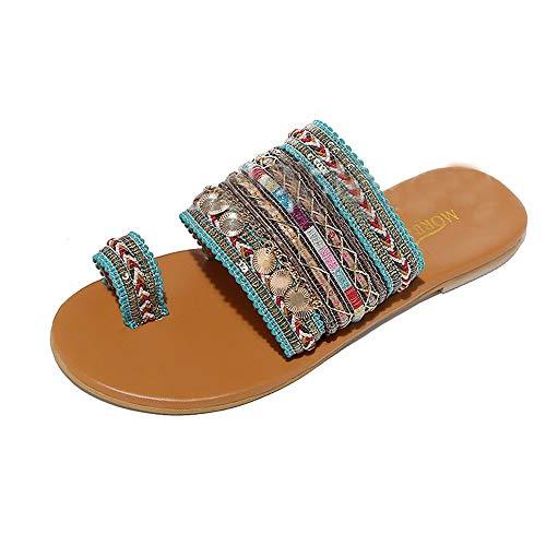 Sandalias Mujer Verano 2019 Plano Chanclas - Artesanal Griego Boho Zapatos - Talla 35-43 - para Playa Fiesta
