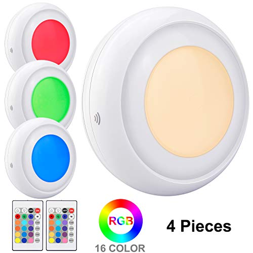 LUXSWAY Wireless Night Light,Battery Operated LED Lighting Remote Control 16 Color RGB Closet Lights,Flash/Strobe/Fade/Smooth Mode,Dim to Bright Stick Under Cabinet Lights for Closet/Showcase