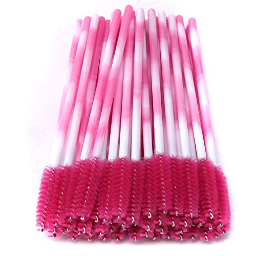 CAVIVIUK 50 Brosses à Cils jetables Mascara Brosses Applicateur Kit de Maquillage Brosse à Sourcils,Rose