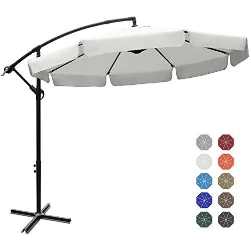ABCCANOPY Patio Umbrellas Cantilever Umbrella Offset Hanging Umbrellas 9 FT Outdoor Market Umbrella with Crank & Cross Base for Garden, Deck, Backyard, Pool and Beach, 12+ Colors,Light Beige