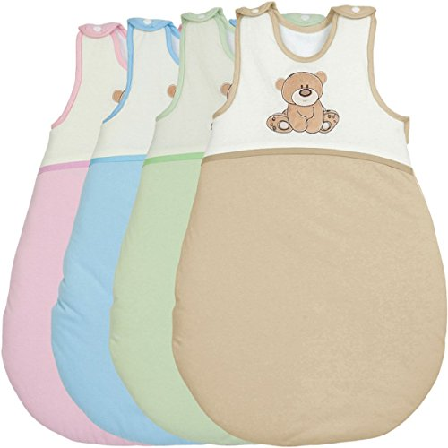 Schlafsack/Winterschlafsack (100% Baumwolle) SPIELBÄR mit (Membran-Einsätze) Baby Kind (70 cm, HELLBLAU)