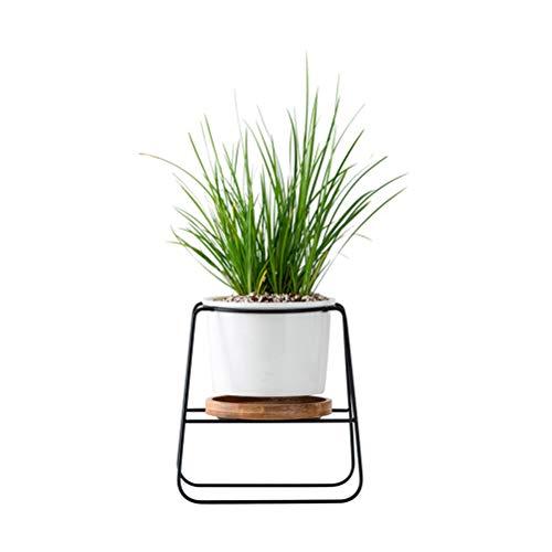 Blumentöpfe für den Innenbereich, moderne Pflanzen und Pflanzgefäße, weiß, Keramik, rund, mit Metallständer, Bambus-Tablett für Sukkulenten, Kakteen
