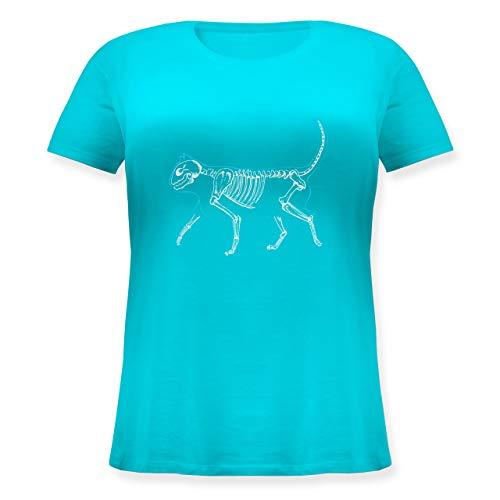 Katzen - Spooky cat - L (48) - Hellblau - Skelett - JHK601 - Lockeres Damen-Shirt in großen Größen mit Rundhalsausschnitt