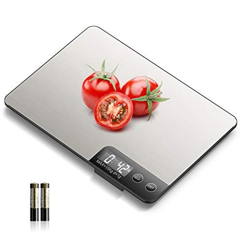 NBPOWER Küchenwaage Digital 15KG Digitalwaage Professionell Elektronische Waage küchen, Haushaltswaage aus Edelstahl mit Großem LCD- Display und praktischer Zuwiegefunktion