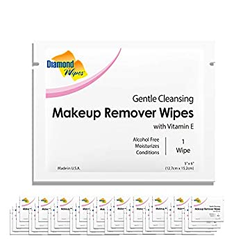 Diamond Wipes Gentle Makeup Remover Cleansing Face Wipes Pack of 50 Wipes Made with Vitamin E Perfect for Waterproof Makeup
