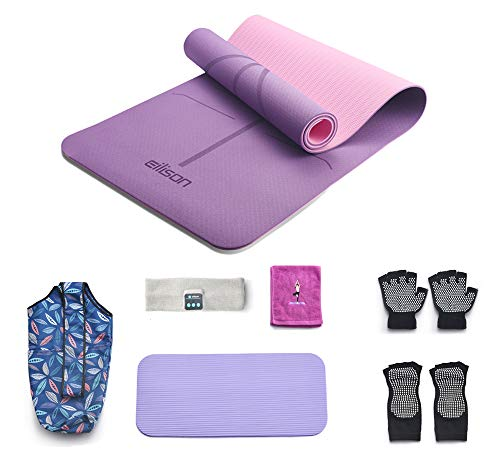 EILISON PROFESSIONAL Yoga Mat Non Slip, Eco Friendly Fitness Exercise Mat with Carrying Strap,Pro Yoga Mats for Women,Workout Mats for Home, Pilates and Floor Exercises( 7 Pieces Set) (Purple, Thick-8mm-purple)