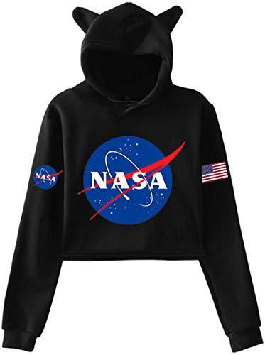 OLIPHEE Felpa con Orecchie di Gatto Stampato con Fascia da Braccio di NASA Felpa Corta per Le Ragazze e Le DonneA-Nero Small