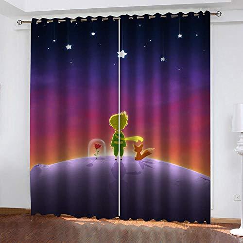 BWBJJ Cortinas Opacas Principito Cortina térmica Ojales Cortina Infantiles Habitaciones Poliéster Tejido Salón Dormitorio Decoración de la Ventana 2 Piezas, 70x280 cm x 2 Panel